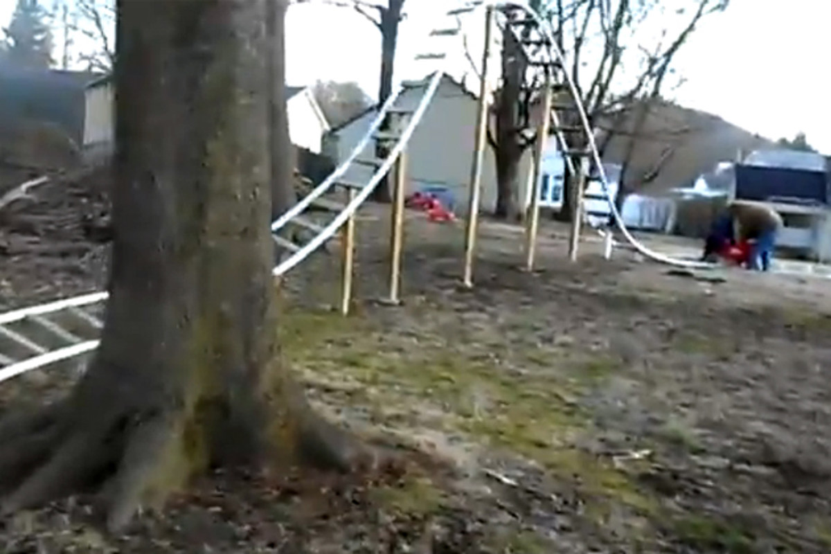 Backyard Roller Coaster Made Of PVC Pipe VIDEO