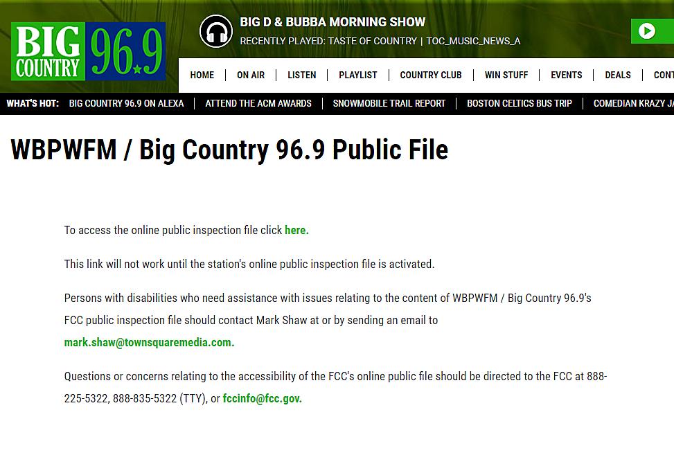WBPW Public File 2018 - Big Country 96 9