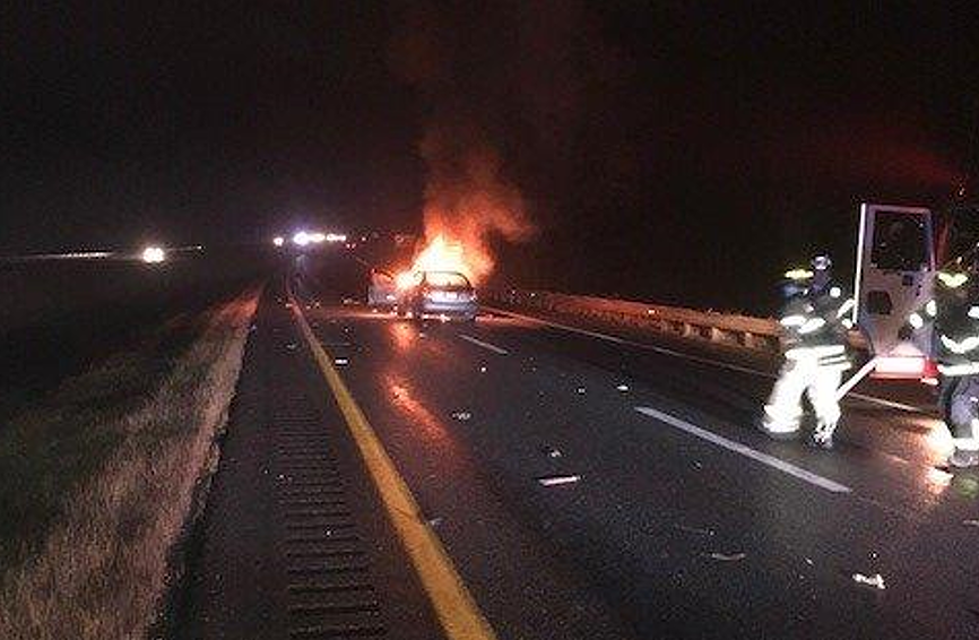 Car Catches Fire After Crash on I-95 [PHOTO]