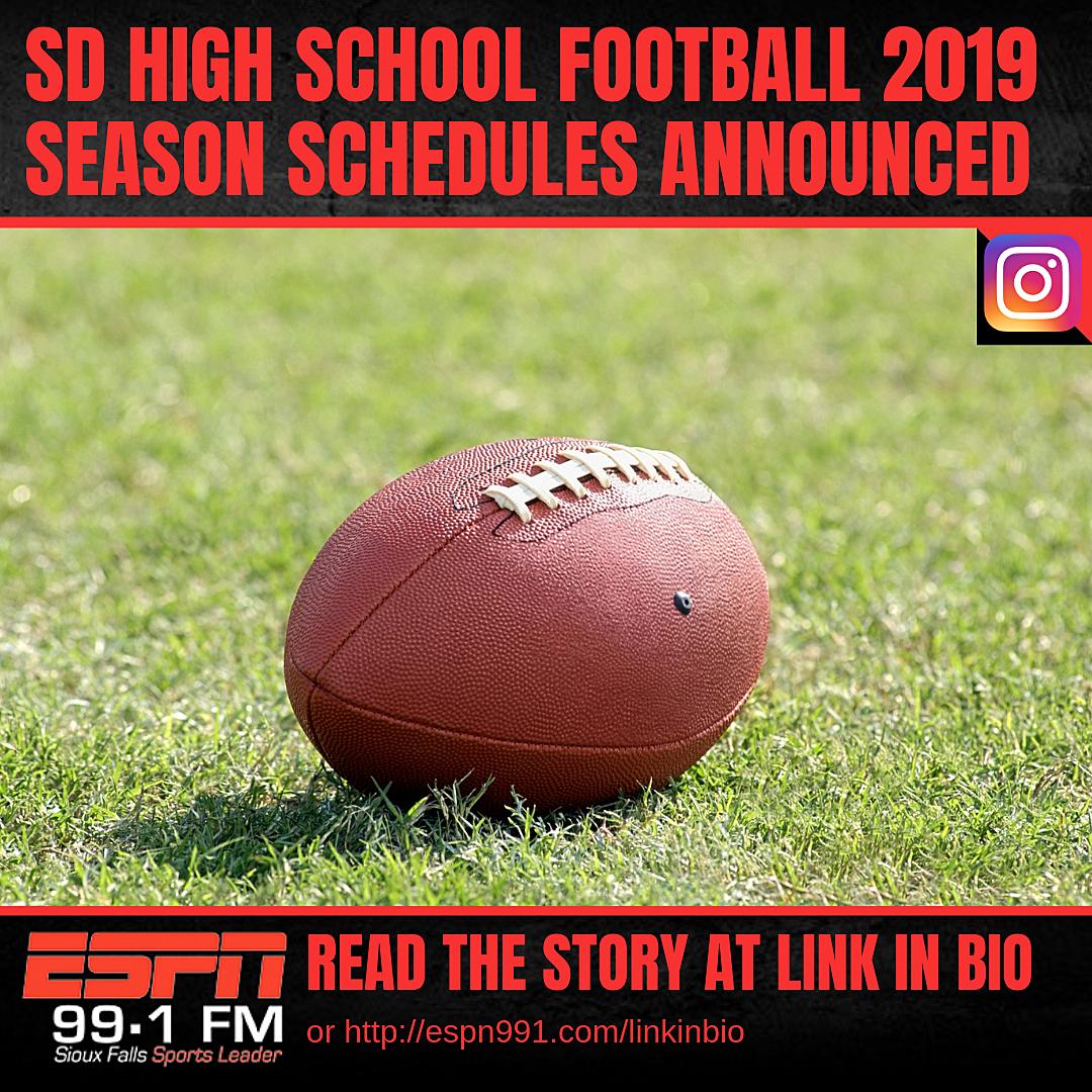 South Dakota High School Football 2019 Season Schedules Announced