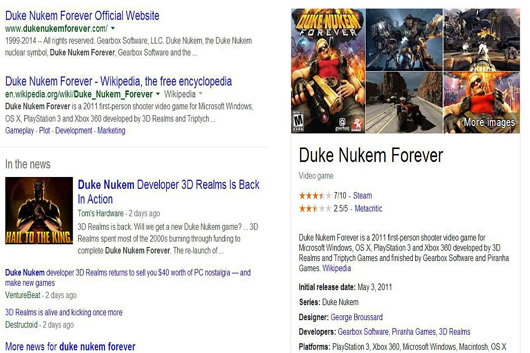 Google Search Adds Knowledge Graph Panels for Video Games