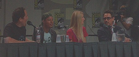 Photo of Jon Favreau, Terrence Howard, Gwyneth Paltrow and Robert Downey, Jr. at Comic-Con