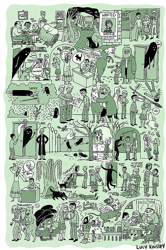 The Complete Story of Harry Potter Illustrated in 8 Posters by Lucy