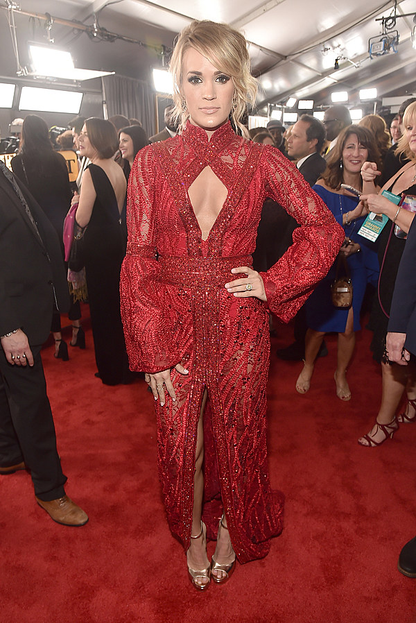 Carrie Underwood Walks The Red Carpet At 2017 Grammy Awards