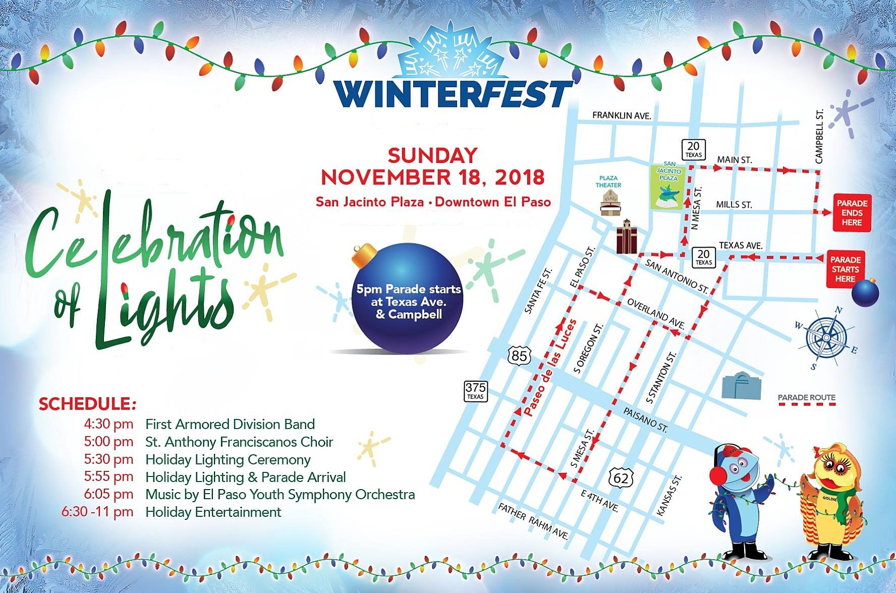 El Paso Christmas Parade 2019 2018 Celebration of Lights Tree Lighting and Parade Schedule