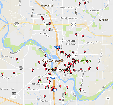 sex offender registry iowa city map