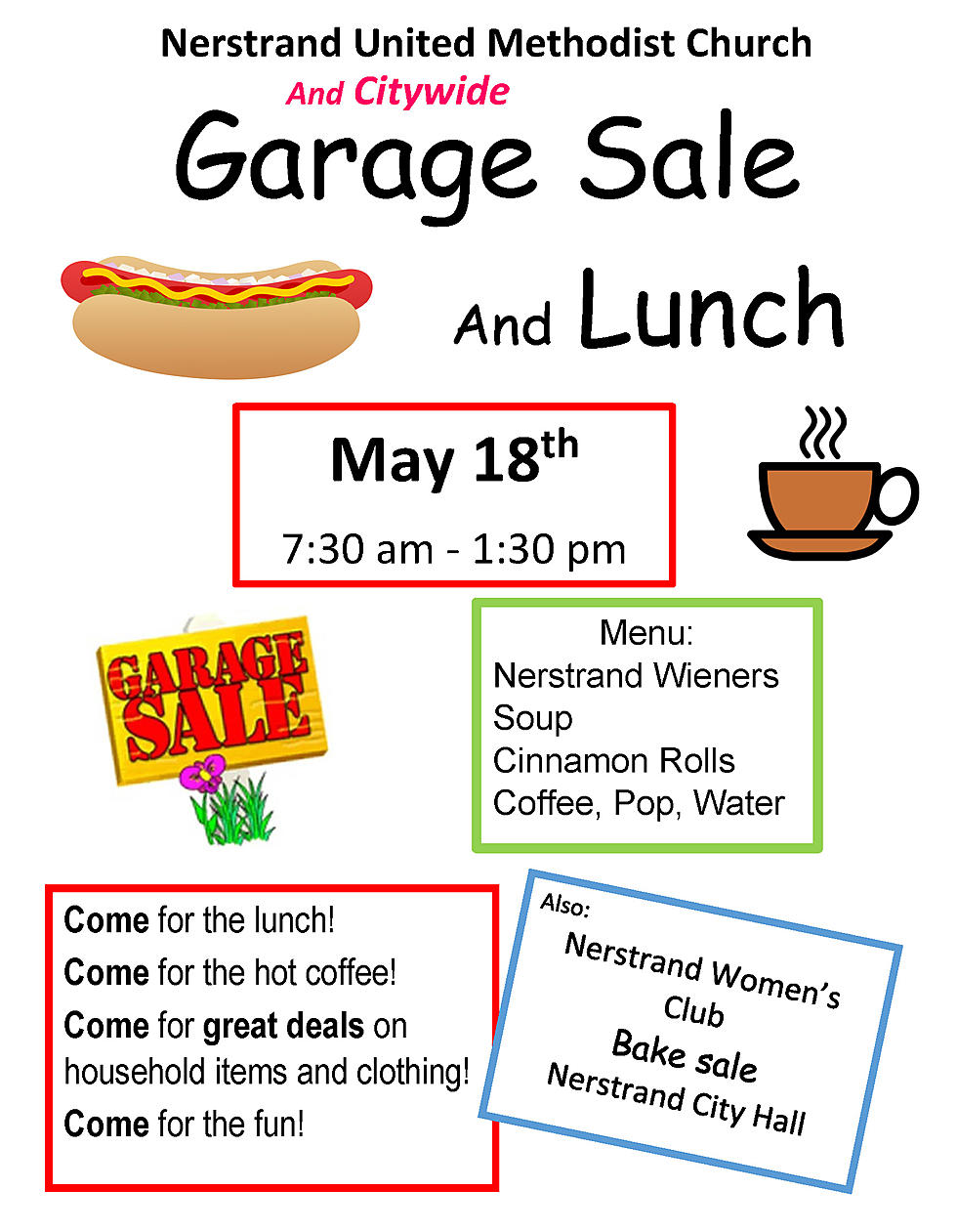 Nerstrand United Methodist Church Garage Sale And Lunch