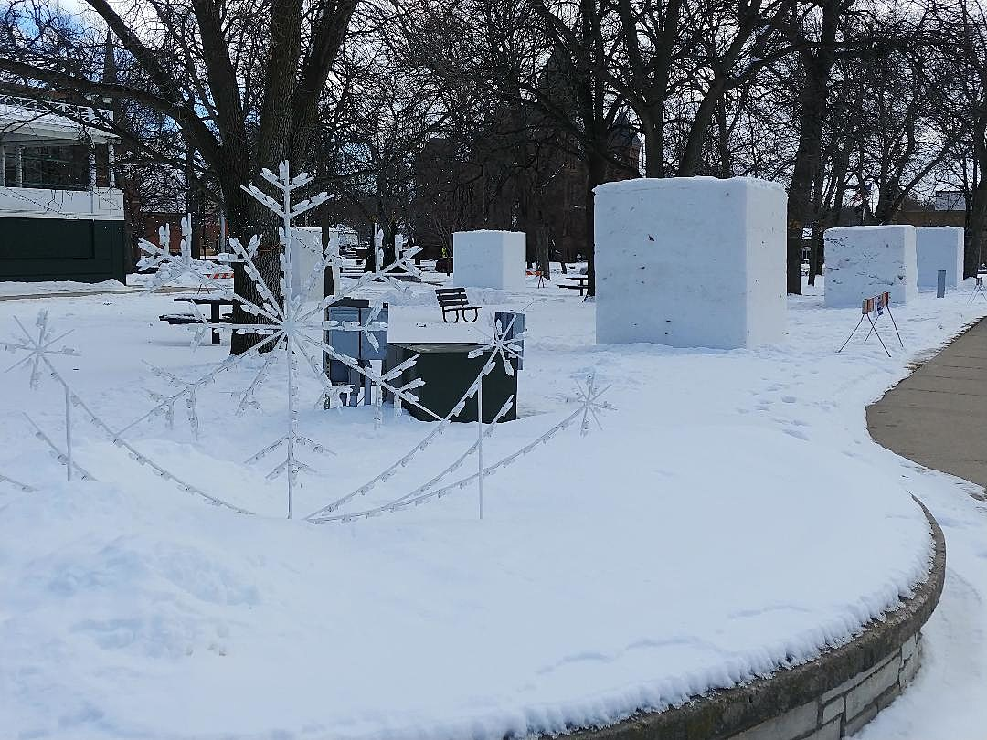 Snow Monoliths Appear in Owatonna's Central Park
