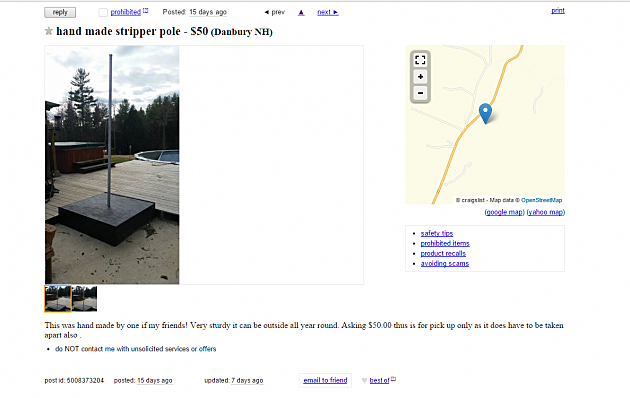 Anyone in New Hampshire Want to Buy a 'Handmade Stripper Pole?'