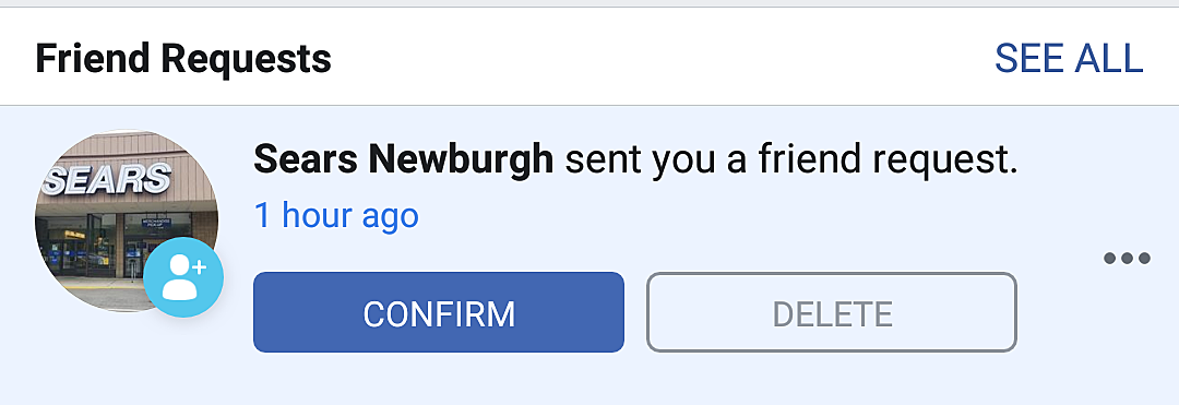 Why Is Sears Newburgh Adding People On Facebook?