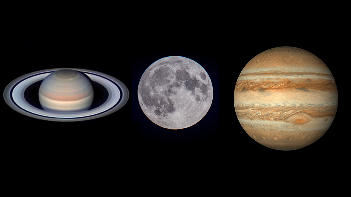 Image result for Jupiter, Saturn and the moon to line up in night sky this week