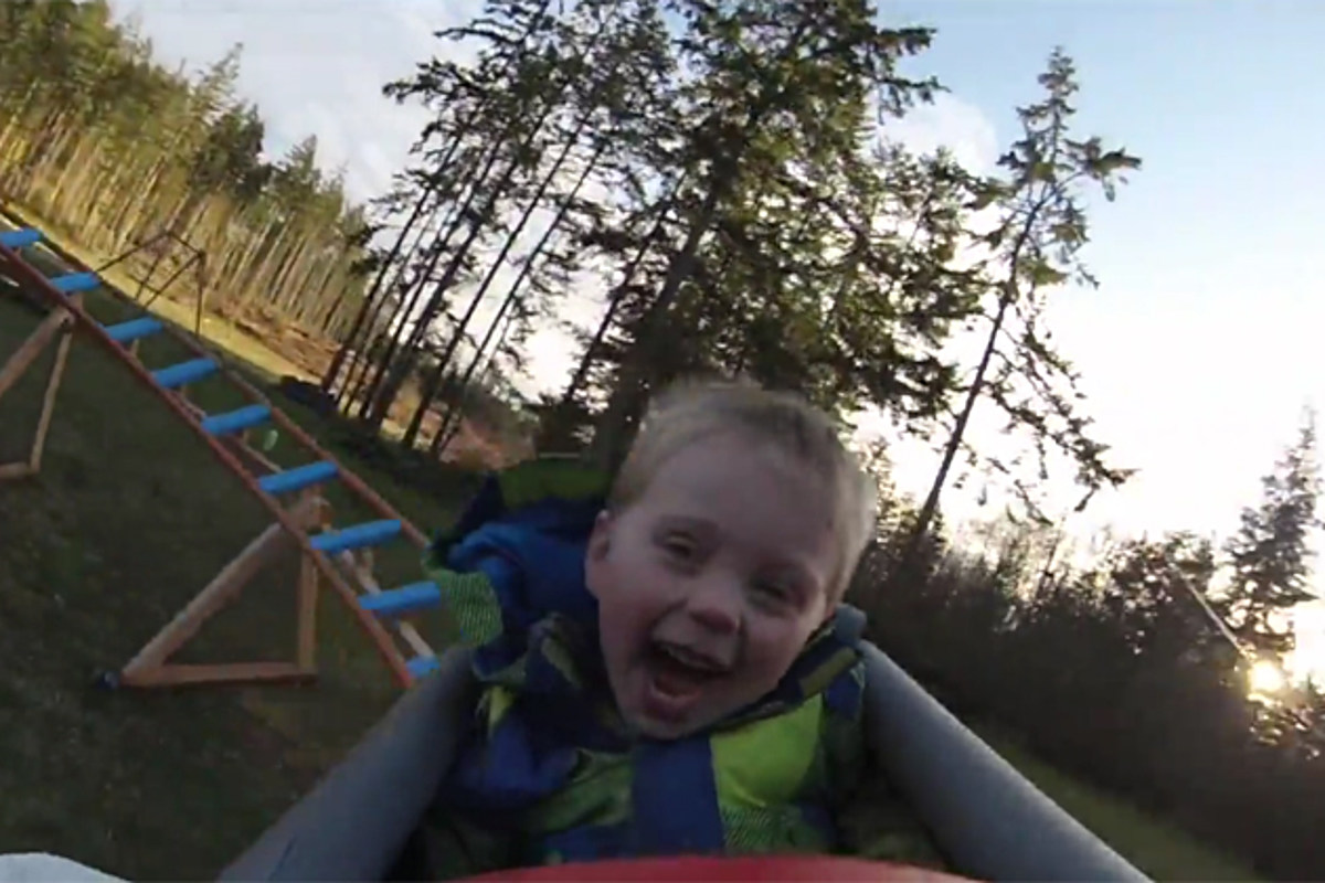 Toddler Rides Backyard Roller Coaster For The First Time