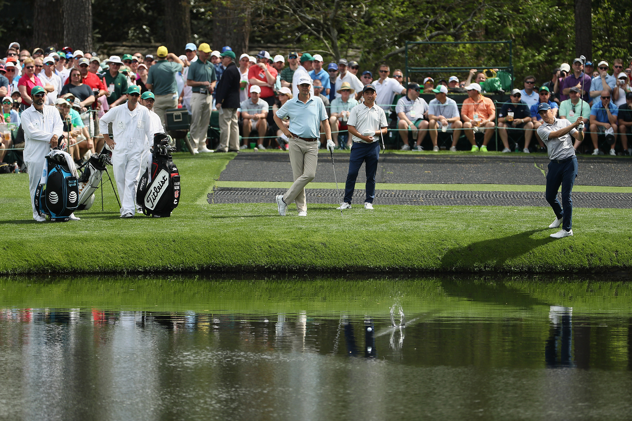 best service f108a 89ad2 Watch Jordan Spieth Make The Green By Skipping Across a Pond