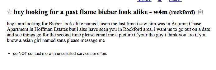 Rockford Missed Connections Fridays: Bieber Look-Alike