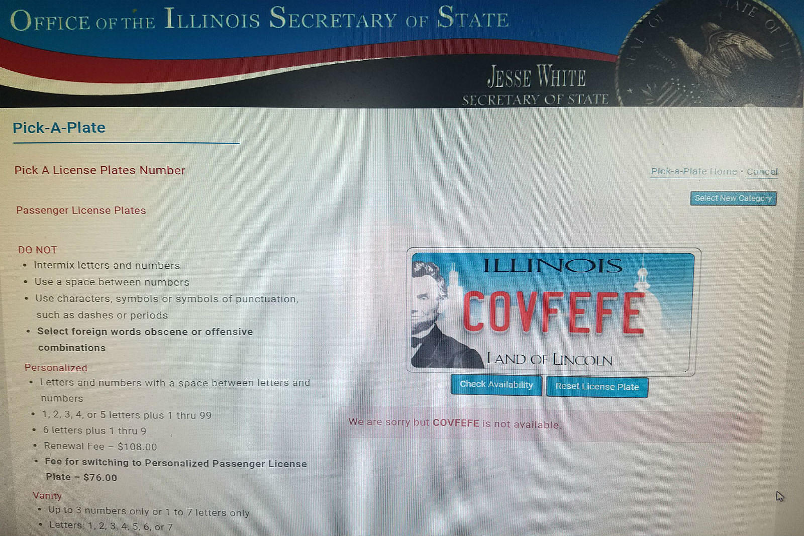 Bummer, the Covfefe Vanity Plate's Been Claimed in Illinois