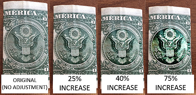 Does Adjusting the Contrast on Dollar Bill Photo Make an