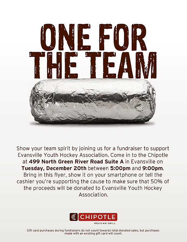 graphic regarding Chipotle Printable Coupon referred to as Consume Chipotle, Ease Evansville Youth Hockey December 20th
