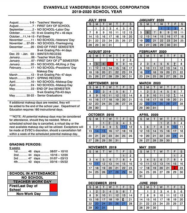 EVSC Releases 2019 2020 Calendar