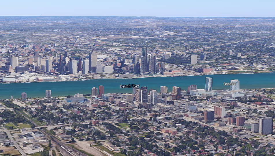 Comparing Detroit 1887 Lithograph + Google Maps 3D from 2016