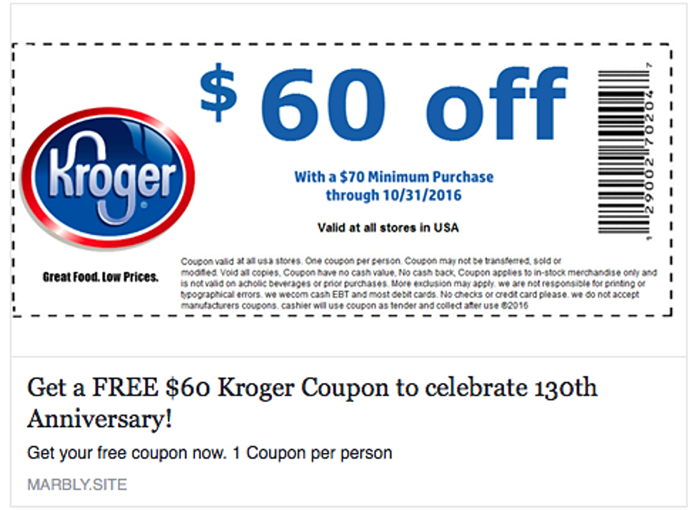 Is the $60 Off Kroger Coupon on Facebook a Scam?