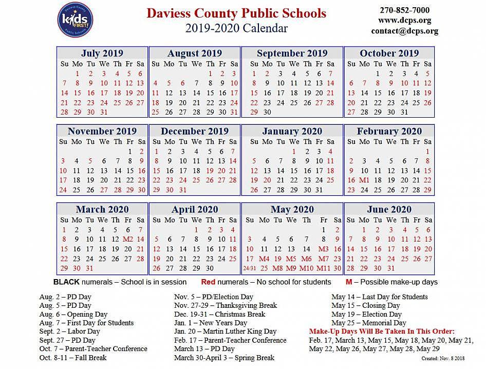 Dcps Calendar 2020-21 The Daviess County Public Schools 2019 2020 Calendar
