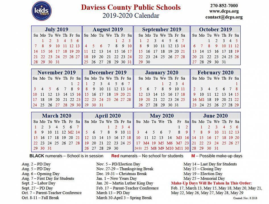 Dcps 2022 Calendar.The Daviess County Public Schools 2019 2020 Calendar