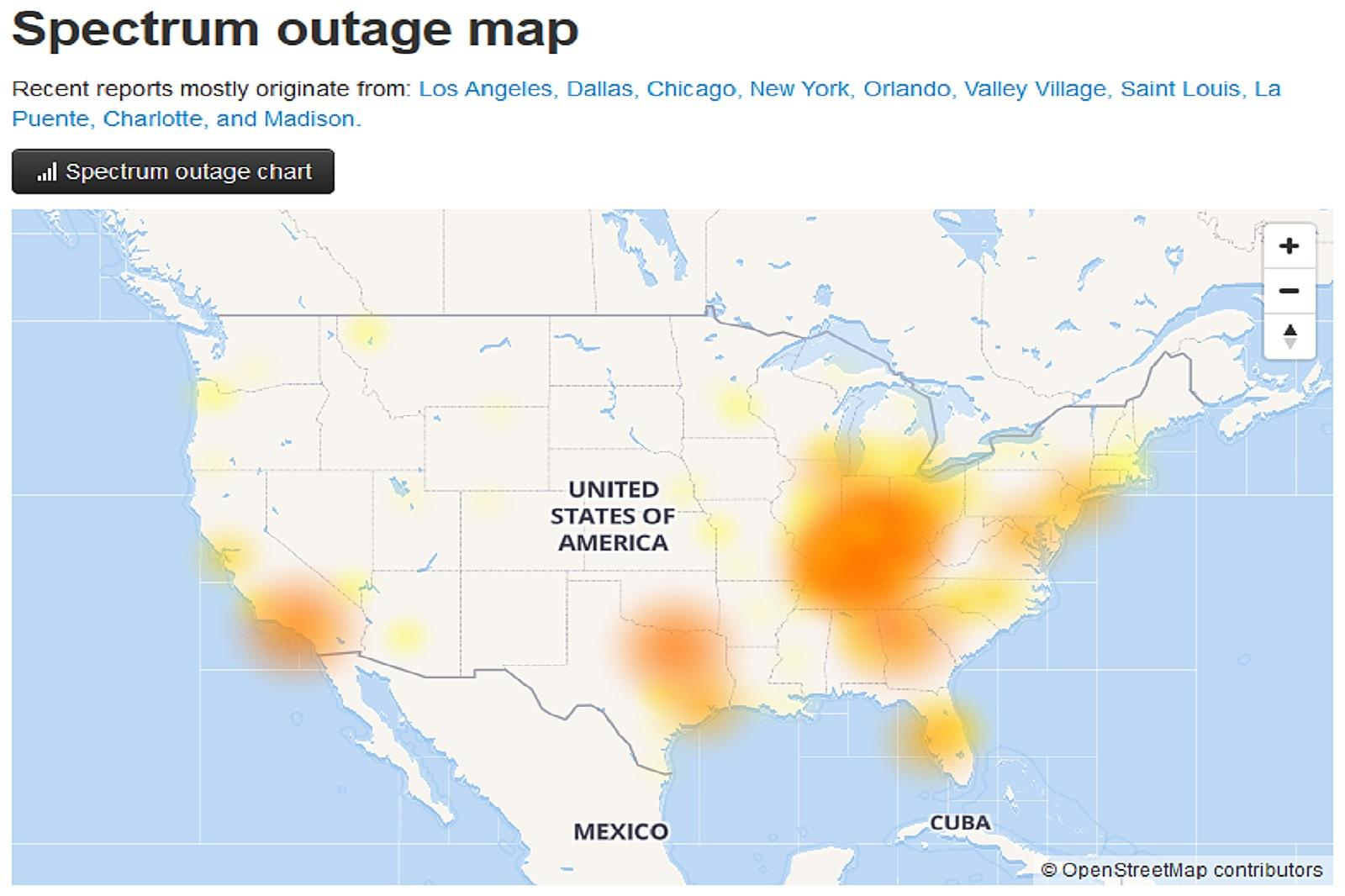 Spectrum Experiencing Massive Outage in Several States [MAP]