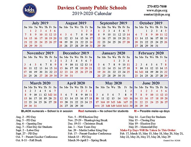 Calendar Sept 2020.2019 2020 School Calendars Released For Ops Dcps