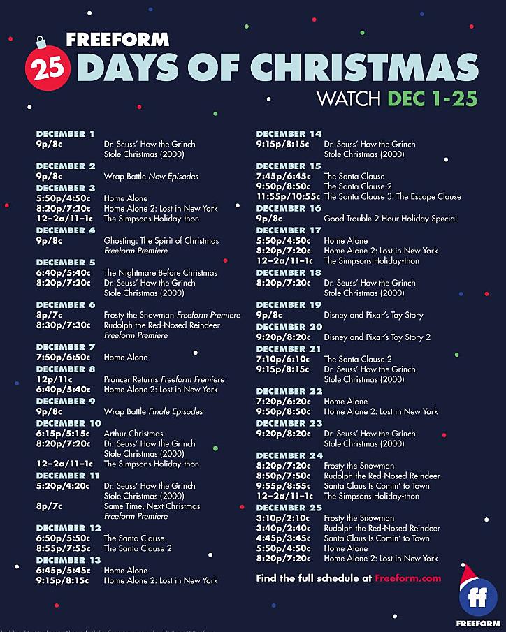 Freeform 25 Days Of Christmas Schedule 2021 Freeform Abc Family S 25 Days Of Christmas Schedule Video