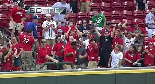 Cincinnati Reds Fan Catches Not One But Two Home Run