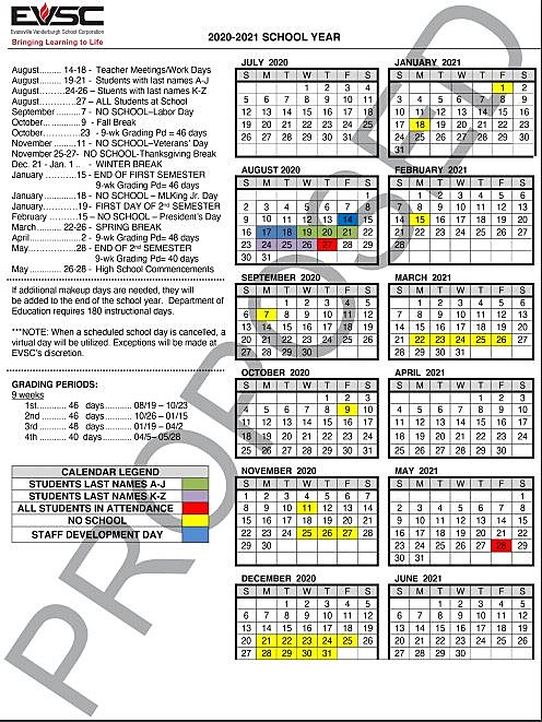 Evsc Calendar 2021 EVSC Proposed 2020 2021 Calendar Reduces Fall Break to One Day