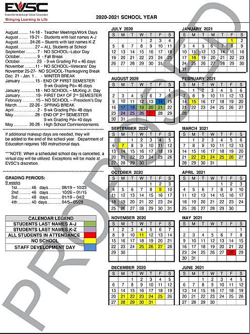 EVSC Proposed 2020 2021 Calendar Reduces Fall Break to One Day