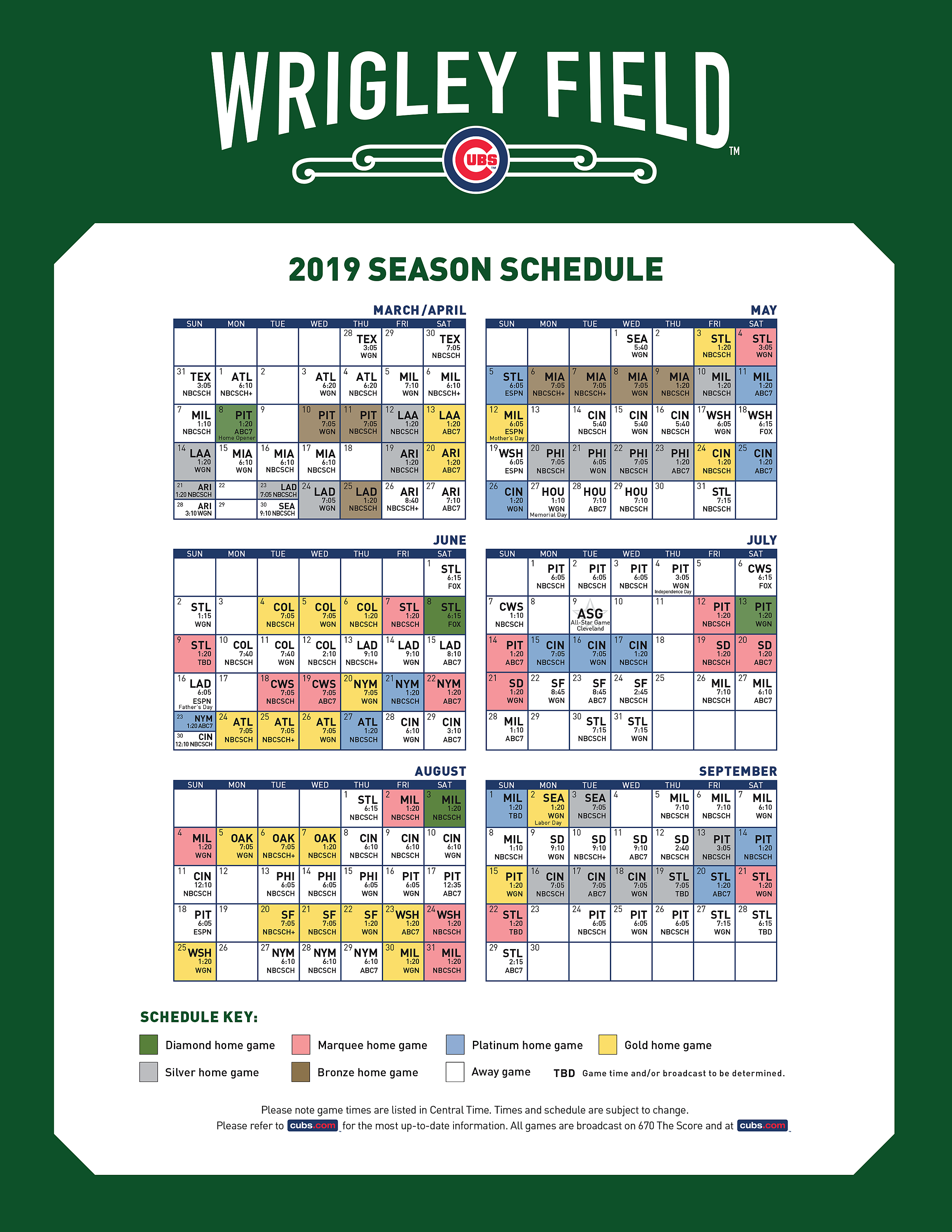 image regarding Printable Cubs Schedule known as Engage in as a result of Participate in Program - ESPN 93.5