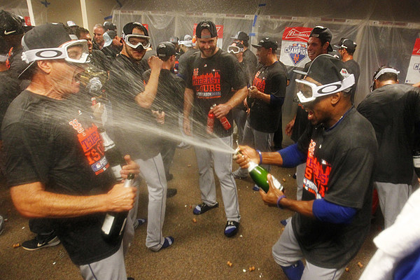 What a Champagne-Soaked Baseball Celebration Looks Like
