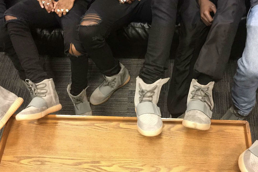 0cf61689b46 Kanye West and G.O.O.D. Music Members Show Off New Adidas Yeezy Boost 750  at Summer Jam 2016