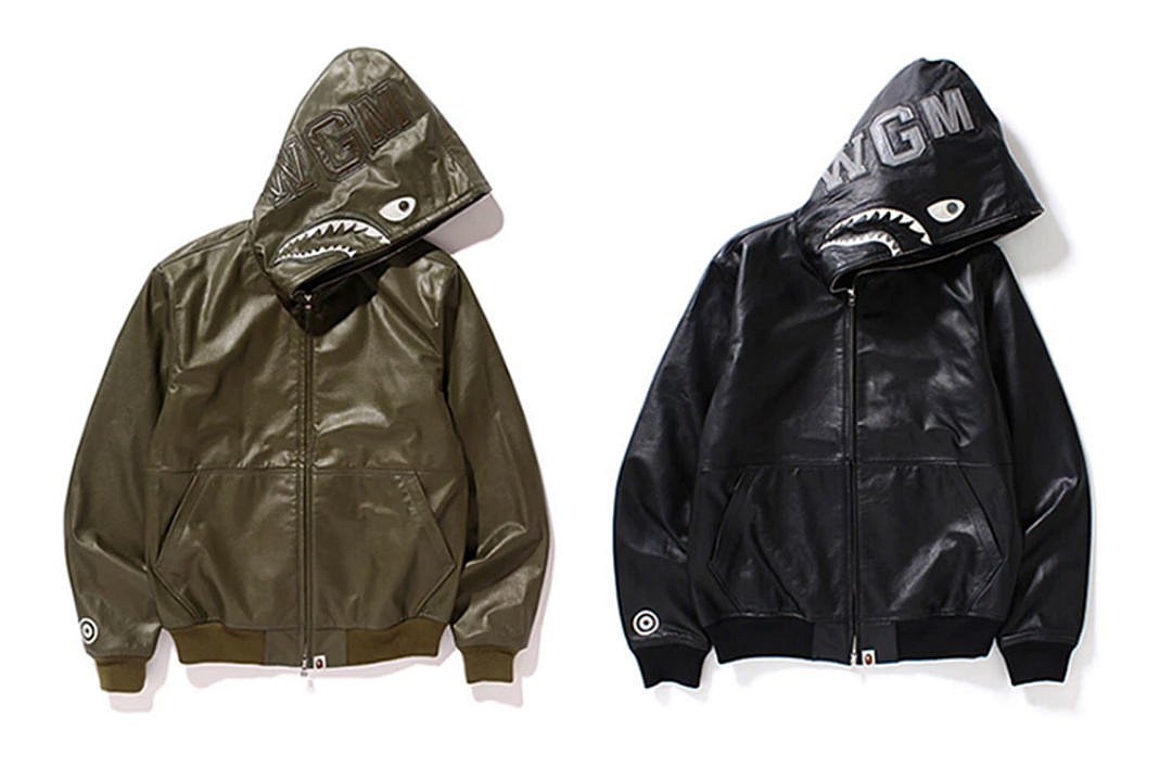 30bd2eeb7530 Bape to Release Leather Shark Hoodie Jackets - XXL