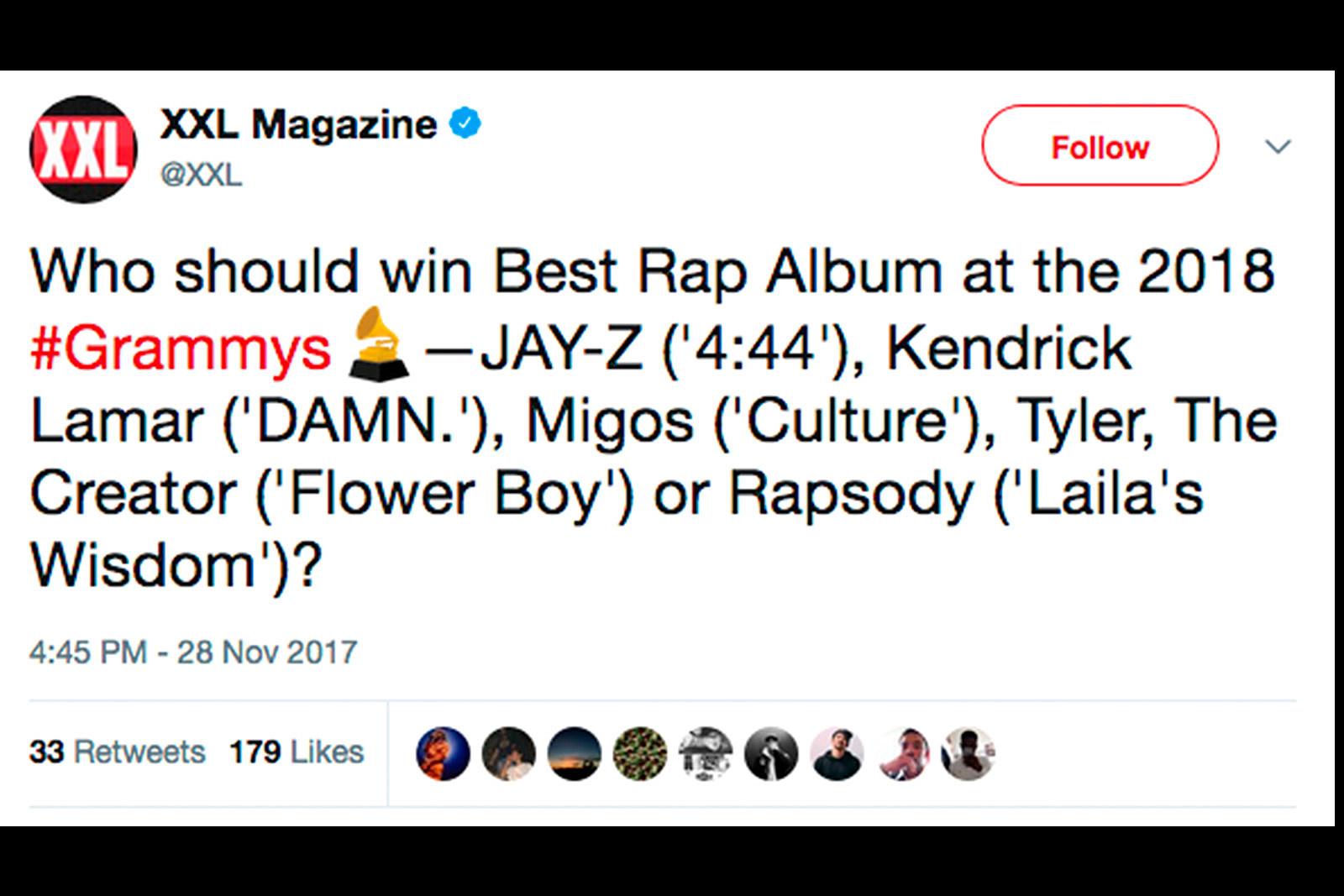 Fans Choose the Rapper to Win Best Rap Album at 2018 Grammys
