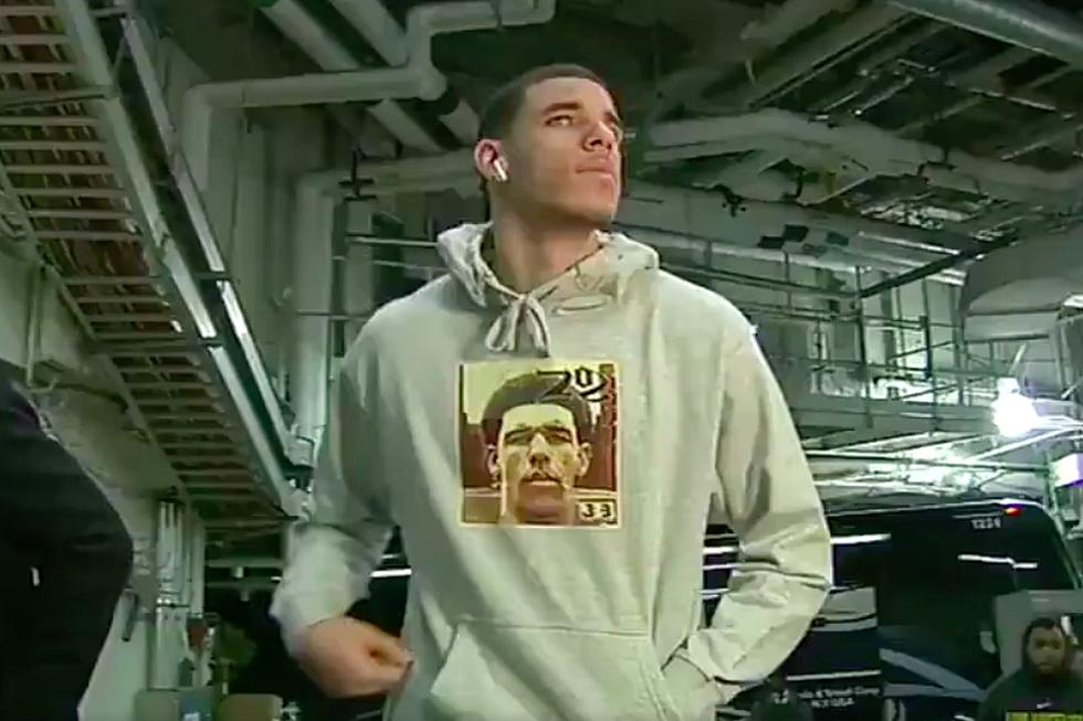 75452729 Lonzo Ball Catches Heat for Wearing Hoodie With His Face on Nas' Album Cover
