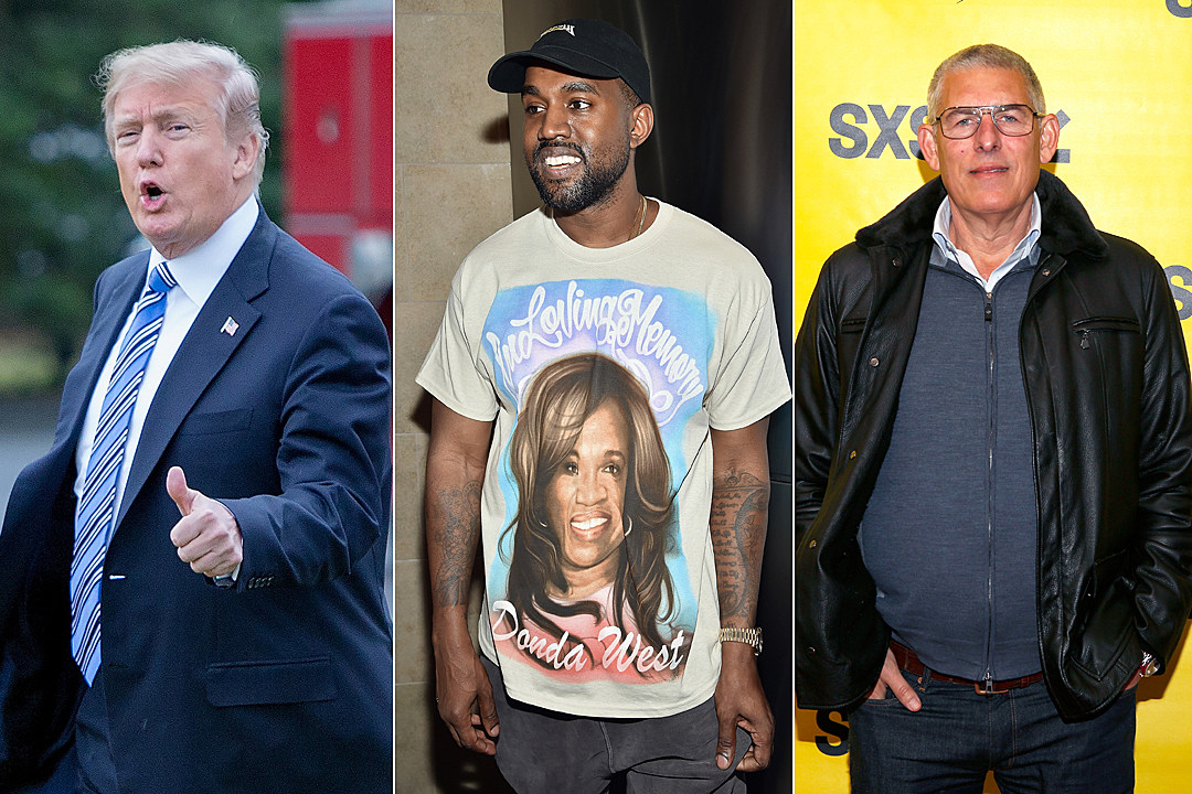 "3e6ba4e0e908c Kanye West Wears ""Make America Great Again"" Hat in Photo With Music Execs  Lyor Cohen and Lucian Grainge"