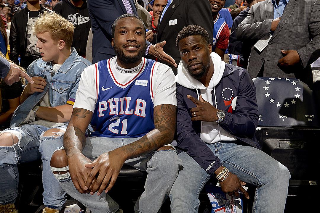 bdc866d77 Meek Mill Celebrates Prison Release at Philadelphia 76ers Game - XXL