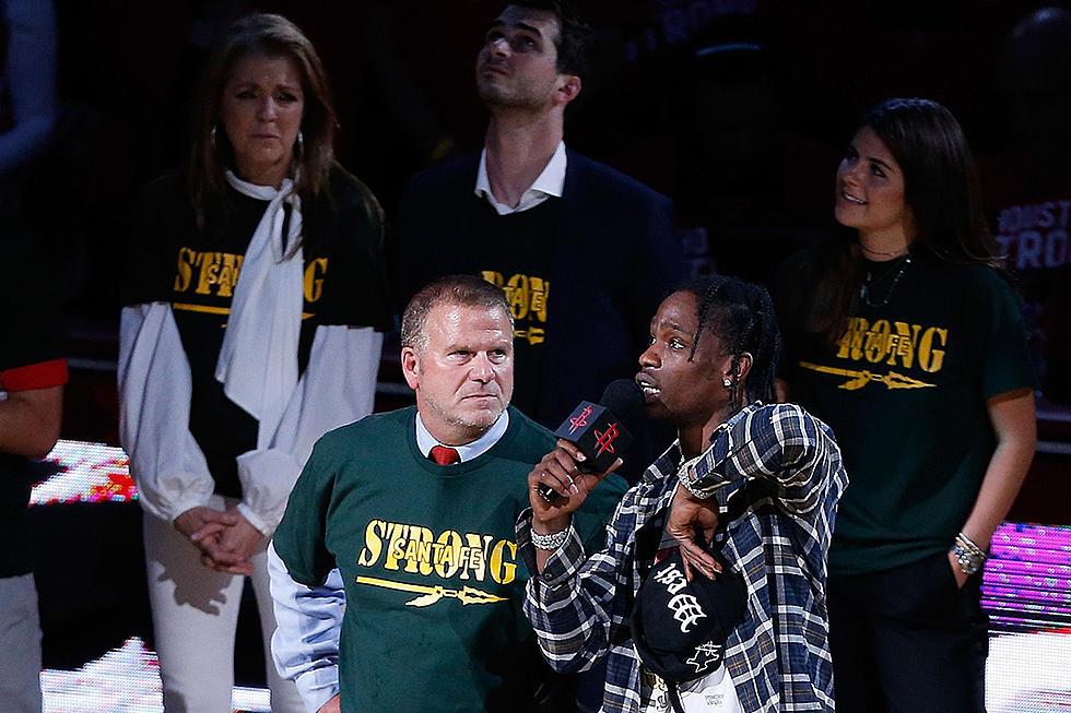 c6819a33661a Travis Scott Honors Texas School Shooting Survivors at Houston Rockets Game