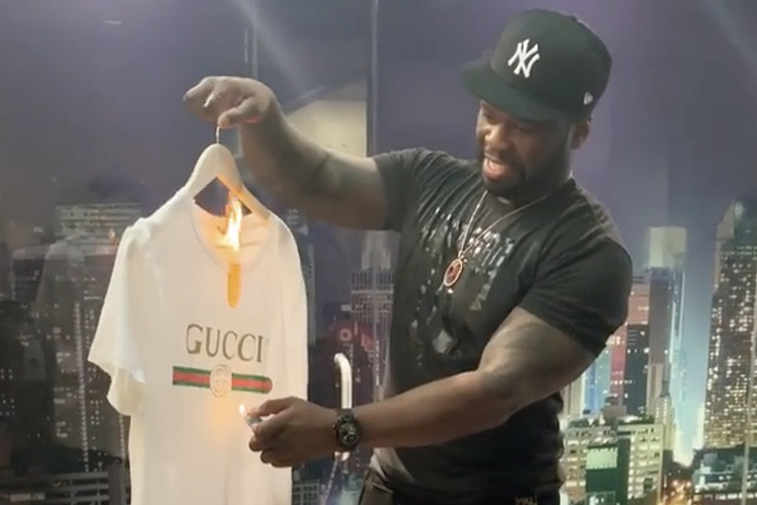 2009b896a57 50 Cent Burns Gucci Shirt After Blackface Sweater Controversy - XXL