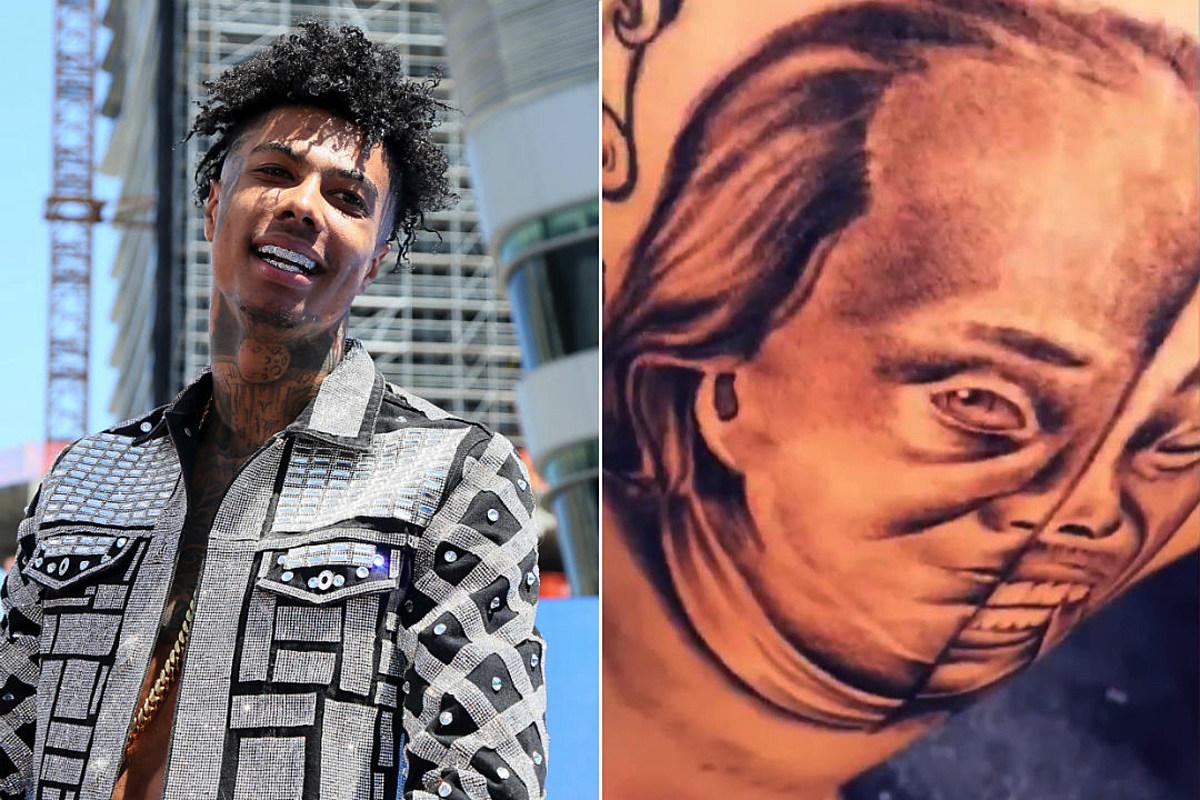 Fan Gets Massive Blueface and Benjamin Franklin Tattoo - XXL