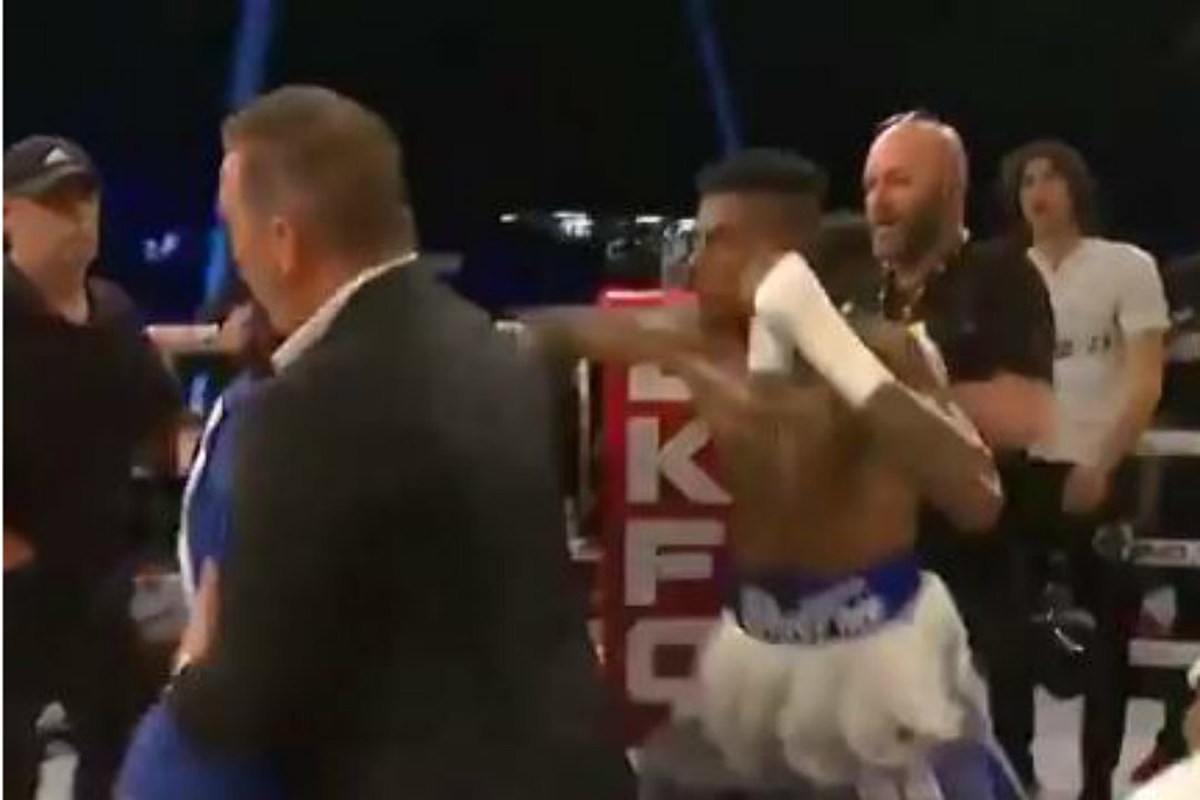 Blueface Punches Fan Who Rushed Boxing Ring After Blueface Won
