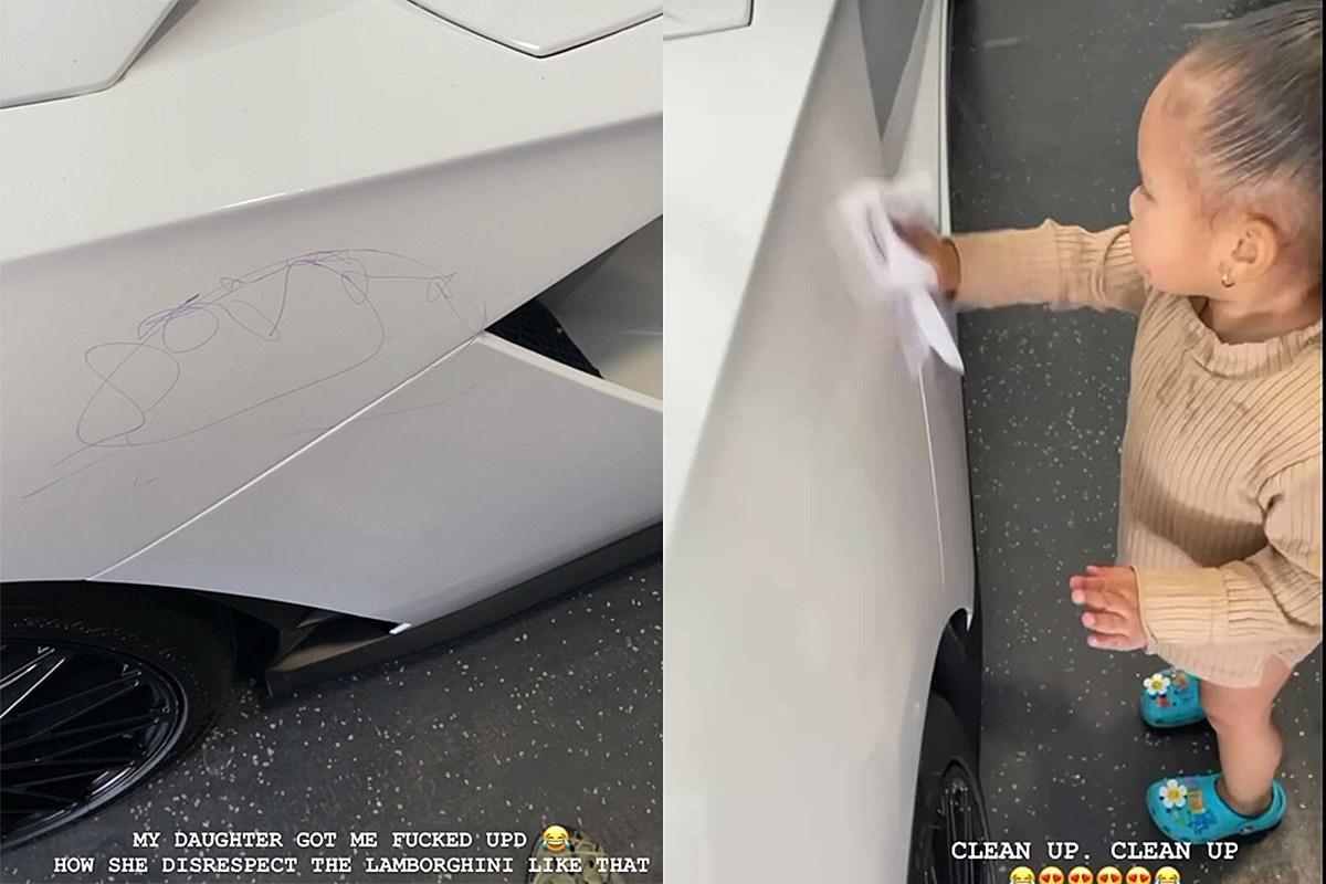 YG's Daughter Draws on His Lamborghini