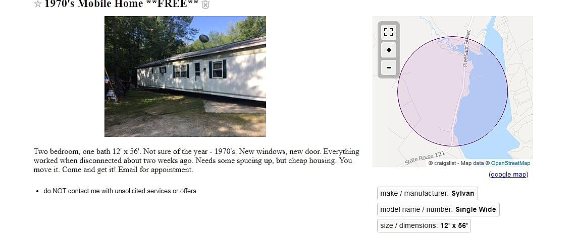 Check out What is FOR FREE Right Now on Maine Craigslist
