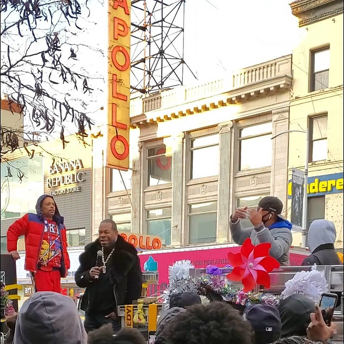 Watch Busta Rhymes perform for voters outside The Apollo