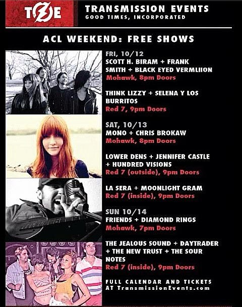 Free Transmission Events' Shows During ACL