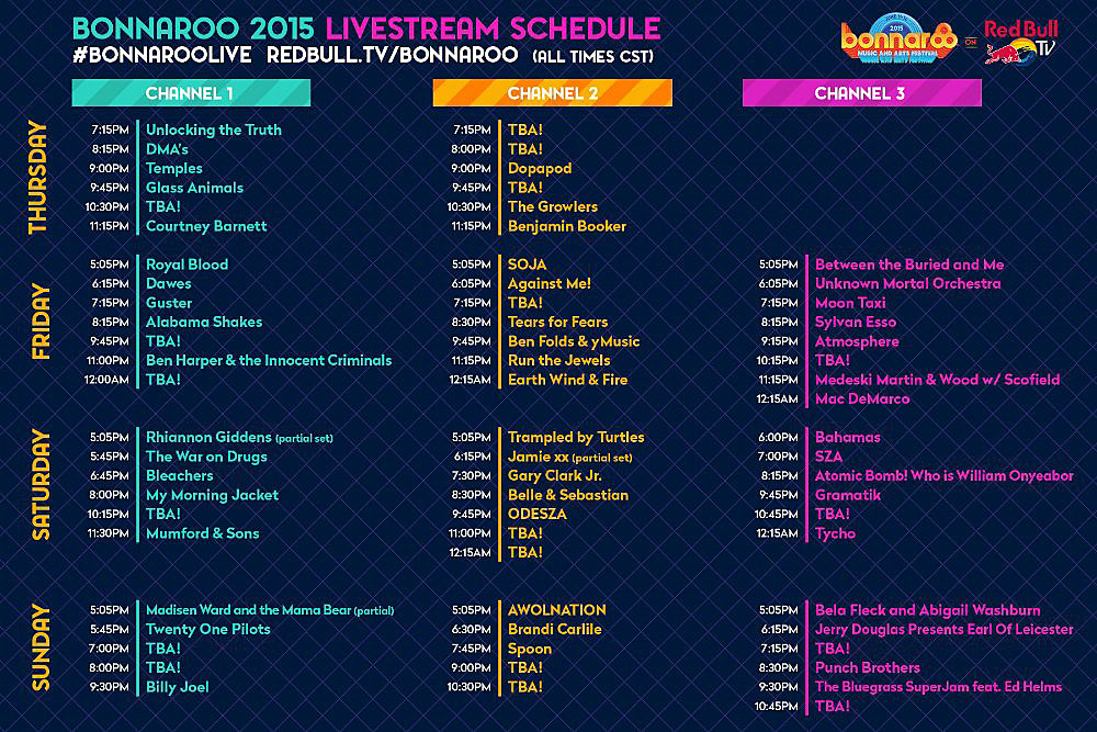 bonnaroo live streaming schedule