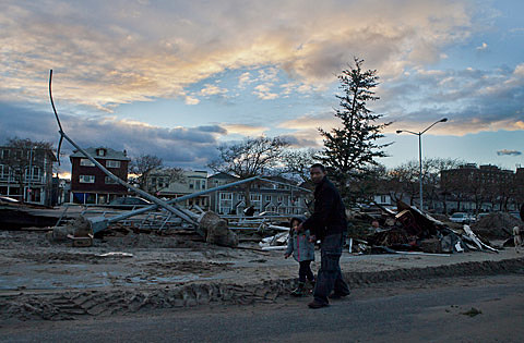 Hurricane Sandy's aftermath in Rockaway on 11/3/12